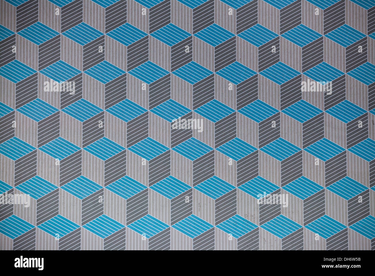 Three Dimensional Square Patterns Blue and Silver - Stock Image
