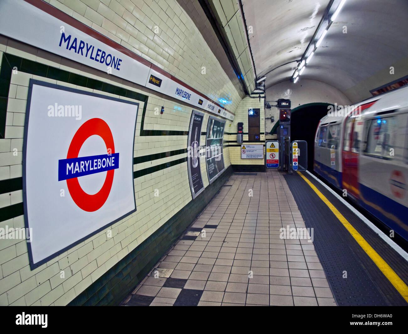 Bakerloo Line platform at Marylebone Underground Station, London, England, United Kingdom - Stock Image