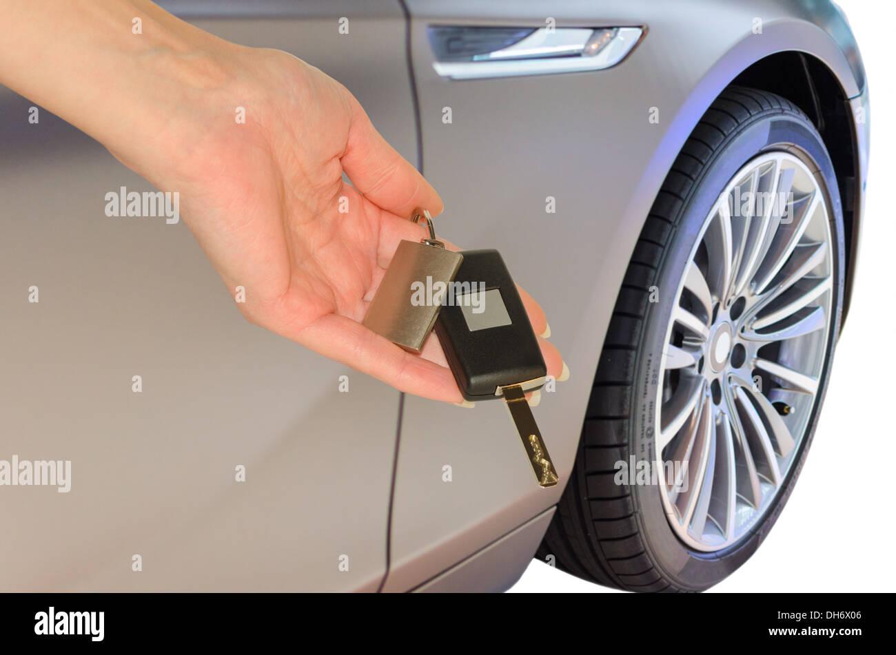 Elegant Woman S Hand Holding Prestigious Car Keys Isolated Stock