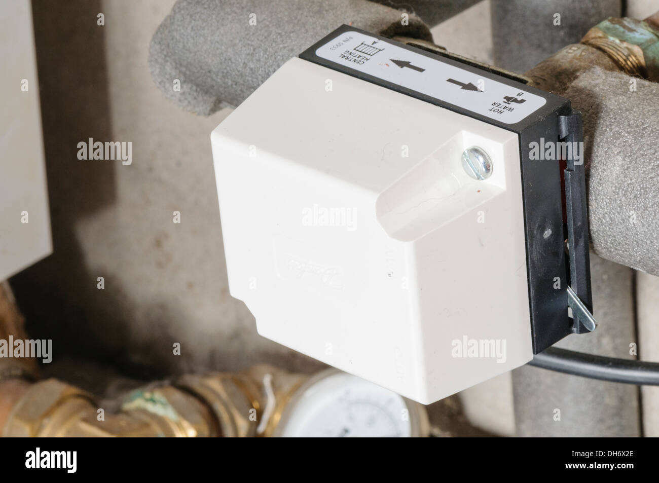 Danfoss two-port valve on a hot water central heating system Stock ...