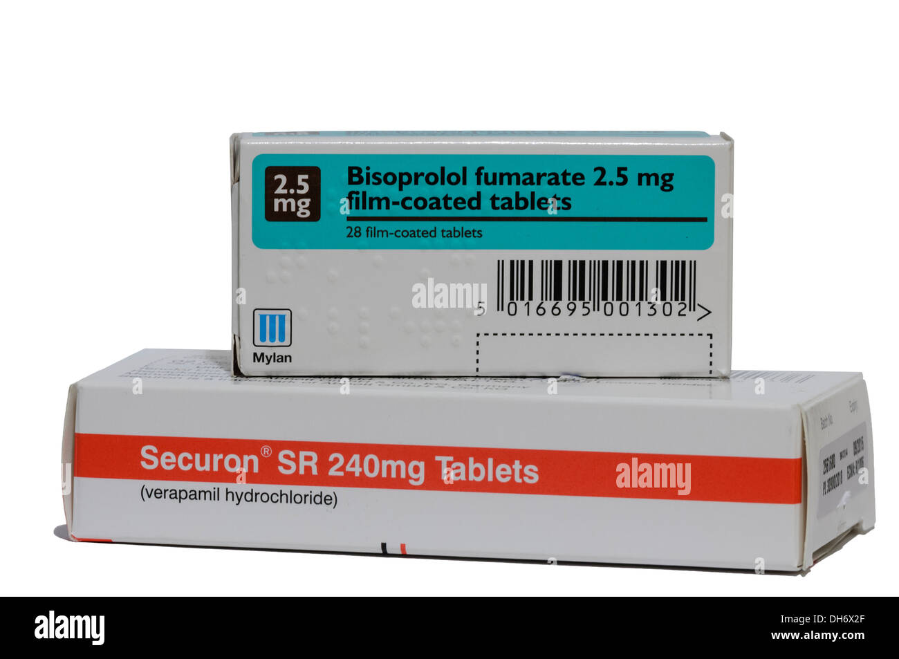 Bisoprolol fumarate 2.5mg with Verapamil hydrochloride, two heart tablets which should never be taken together as - Stock Image