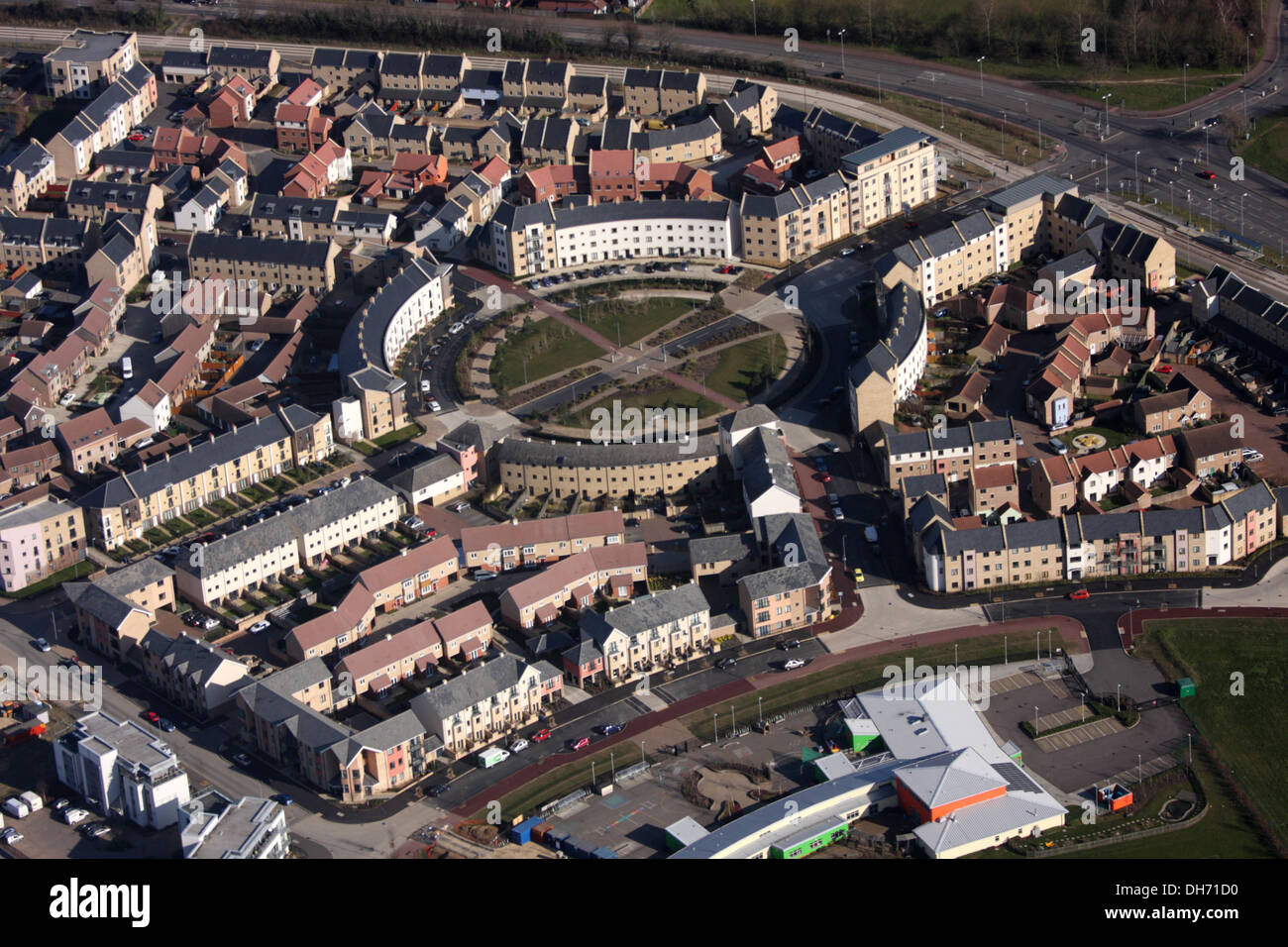 Aerial View of Orchard Park, Cambridge - Stock Image
