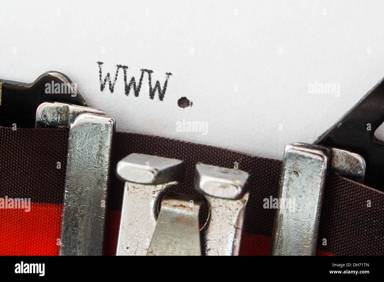 www. website prefix typed on a vintage typewriter - Stock Image