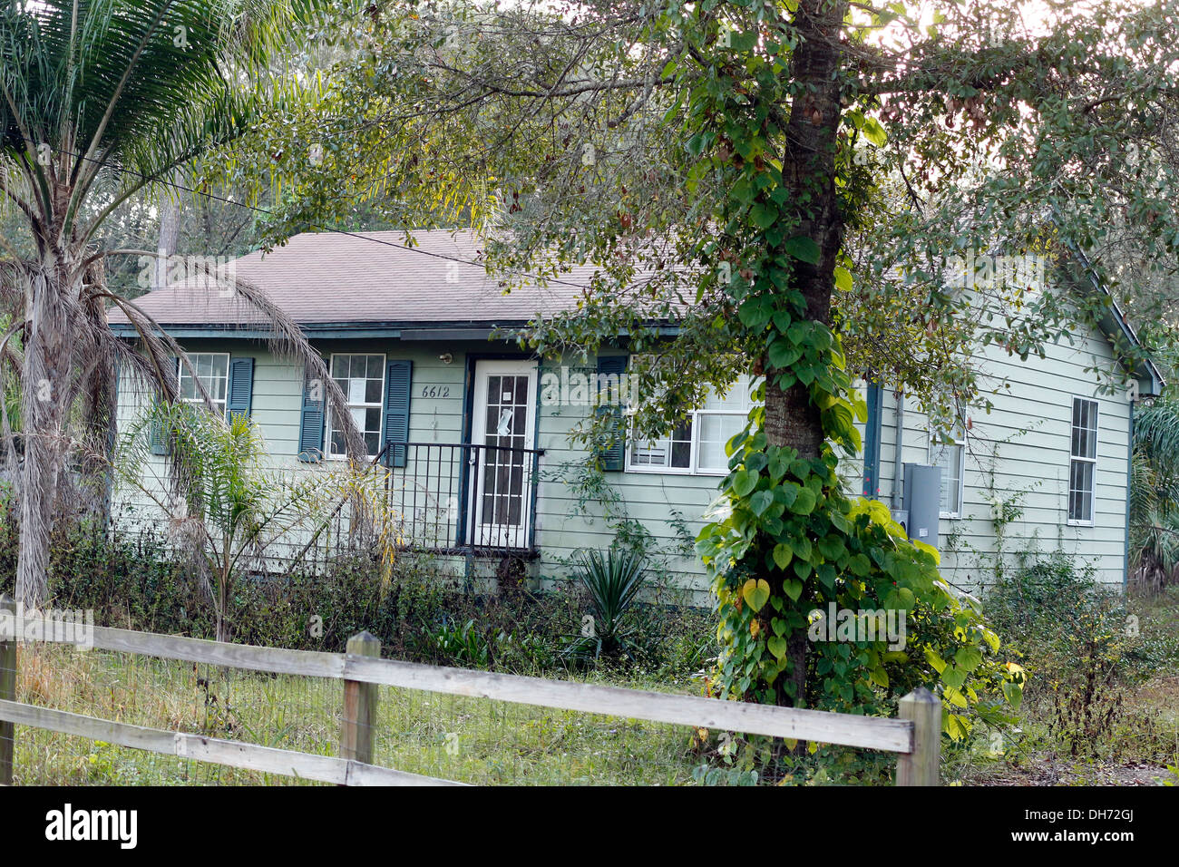 Small run down house now over grown on a backwoods road in Florida, November 2013 - Stock Image