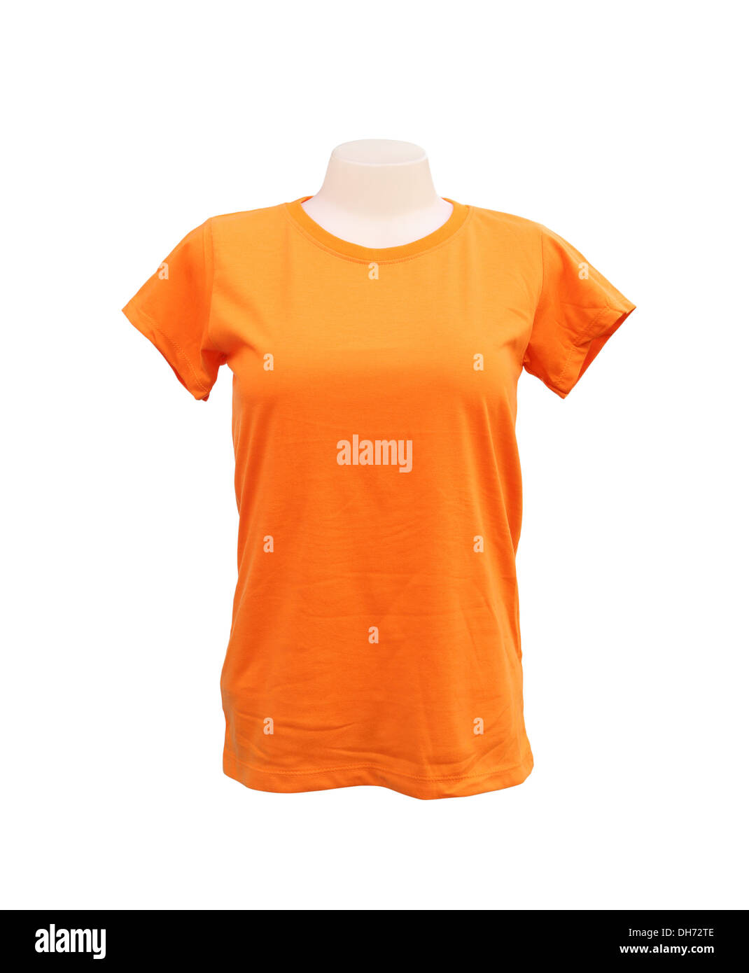 female tshirt template on the mannequin on white background with