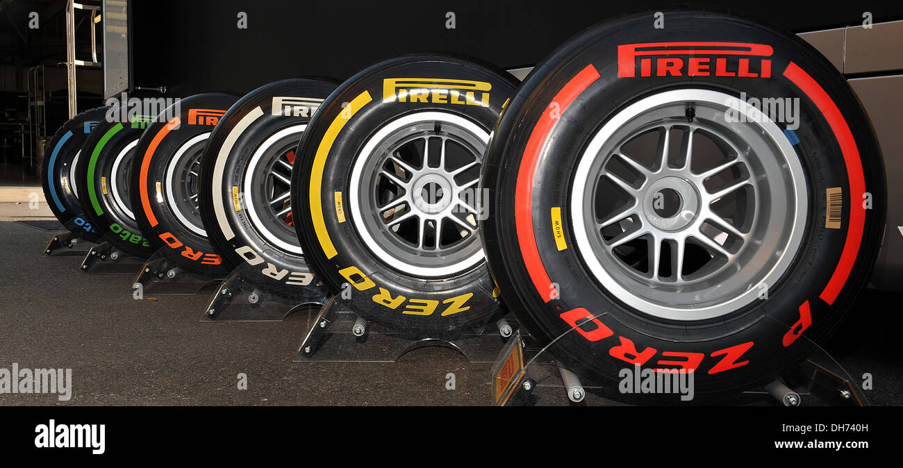 Full set of Pirelli tyres during the 2nd day of the F1 young driver/tyre test at the Silverstone Circuit, Northamptonshire. - Stock Image
