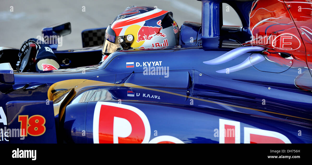 Daniil Kvyat of Scuderia Toro Rosso during the 3rd day of the F1 young driver/tyre test at the Silverstone Circuit. - Stock Image