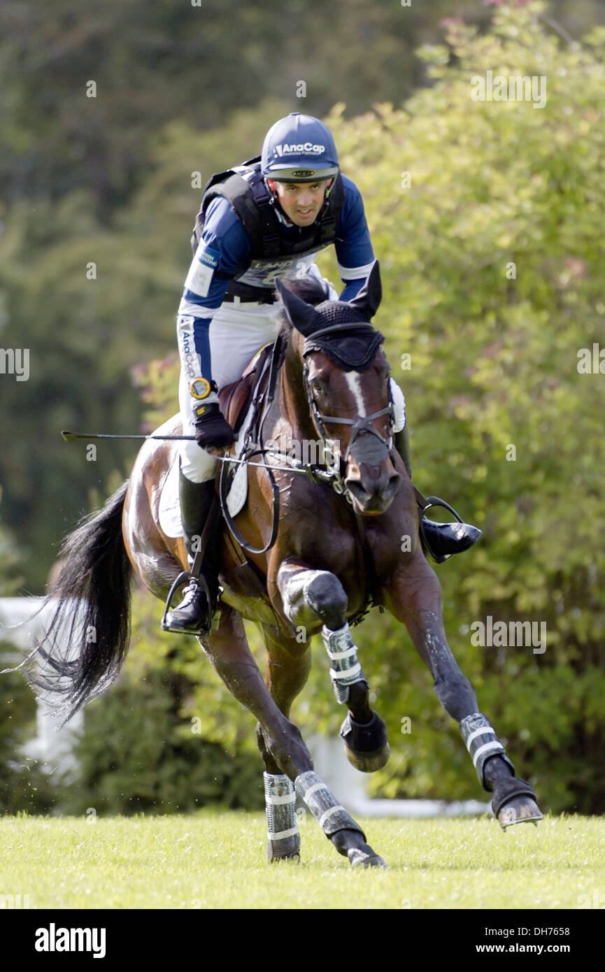 New Zealand event rider Jonathan ( Jock ) Paget and his horse Clifton Promise  taking part in the Burghley Horse trials - Stock Image
