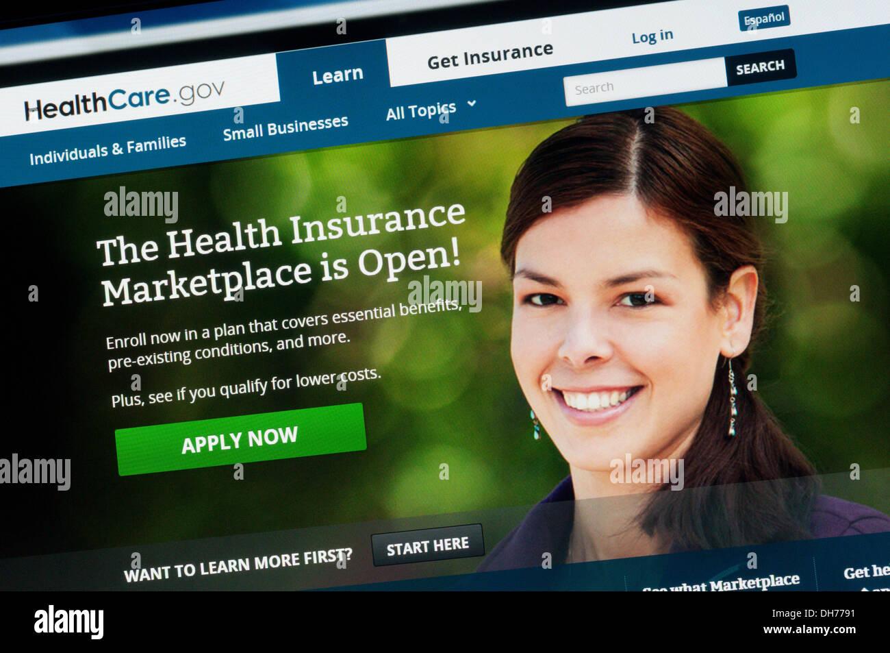 American health insurance website. - Stock Image