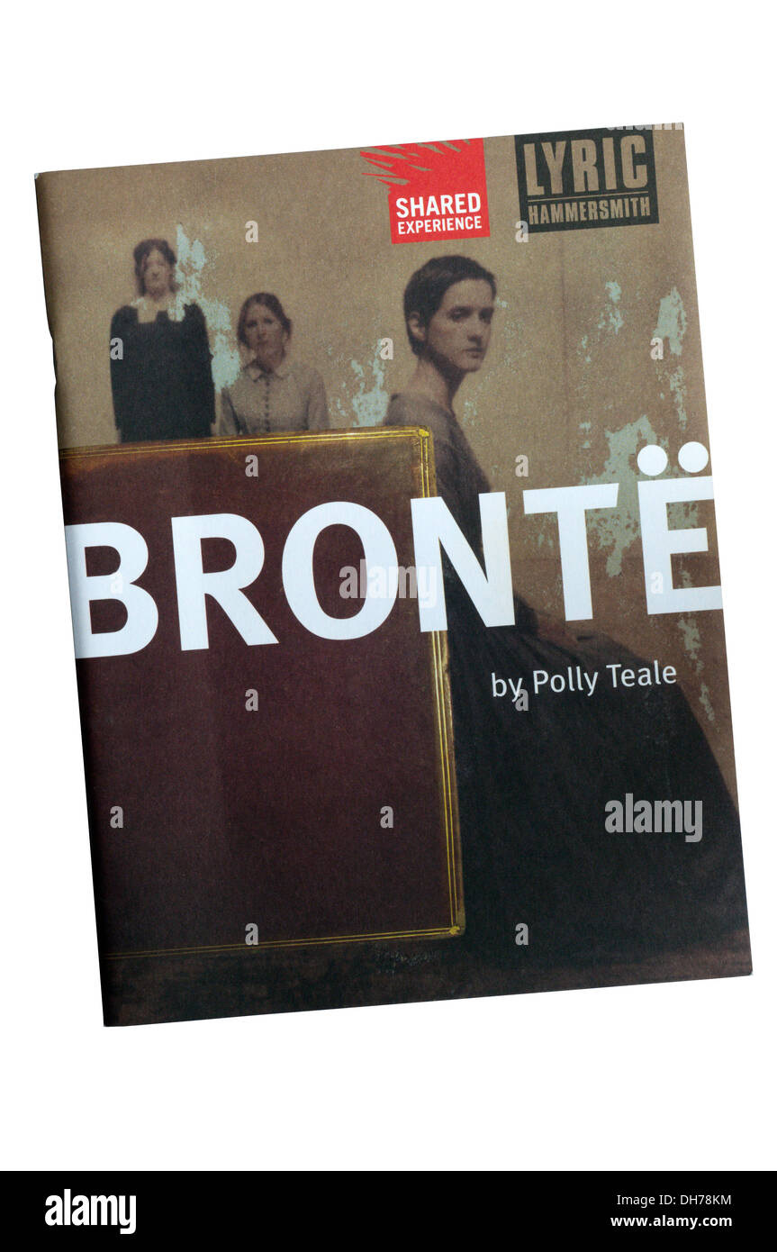Programme for the 2002 production of Bronte by Polly Teale and Shared Experience at the Lyric Theatre, Hammersmith. - Stock Image