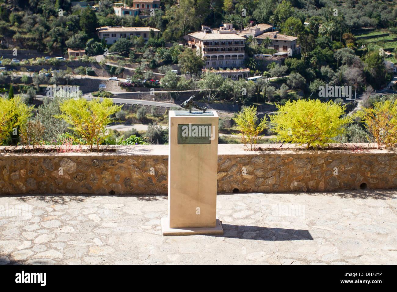 Memorial to William Waldren archaeologist and prehistorian Deià, Majorca, Balearic Islands, Spain Stock Photo