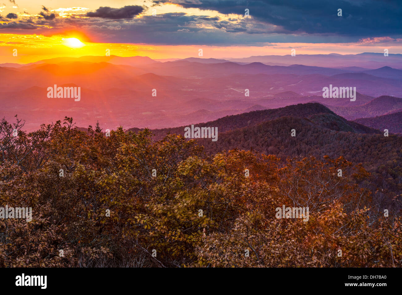 Blue Ridge Mountains at sunset in north Georgia, USA. - Stock Image