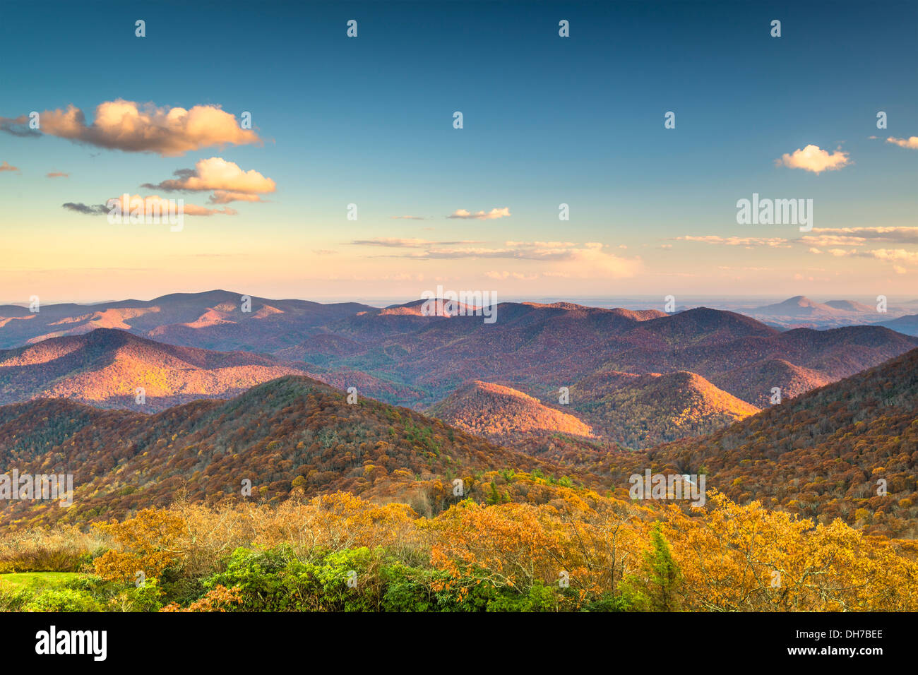 Blue Ridge Mountains at dusk in north Georgia, USA. - Stock Image