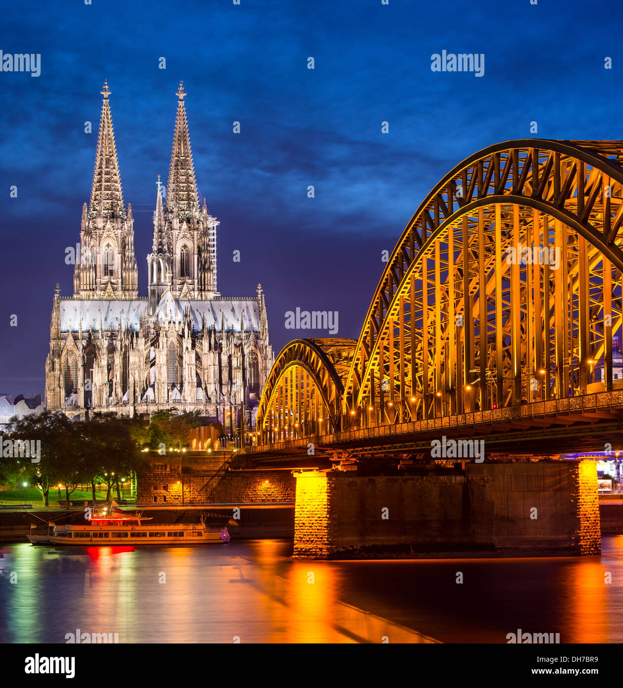 Cologne, Germany aerial view over the Rhine River. - Stock Image