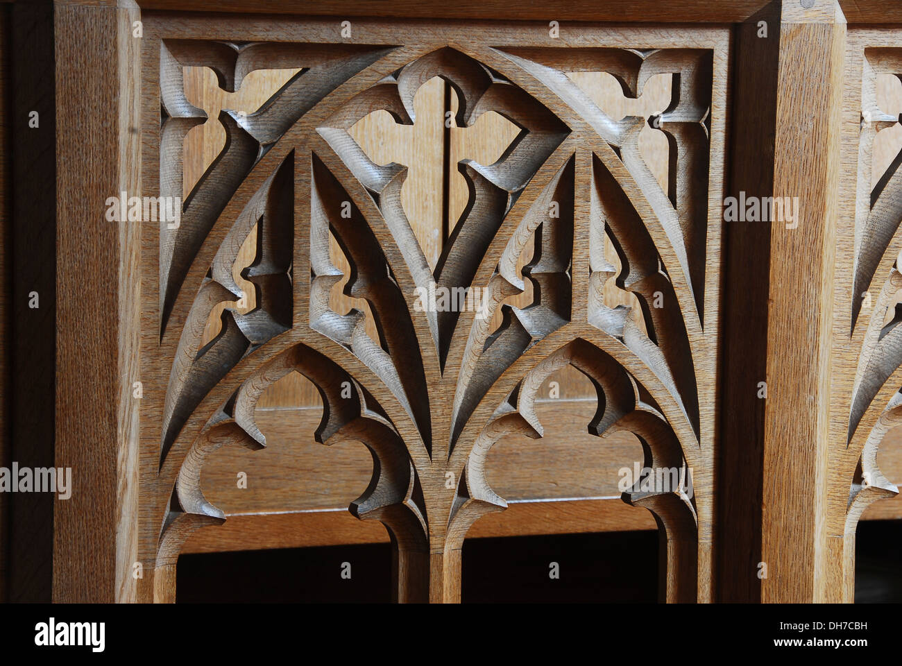 An ecclesiastical wooden carving UK - Stock Image