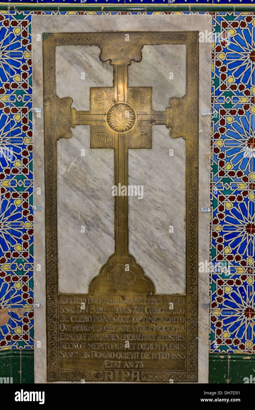 BRASS CROSS AND COLOURED TILES IN THE CATHEDRAL OF ST MARY THE CROWNED IN GIBRALTAR - Stock Image