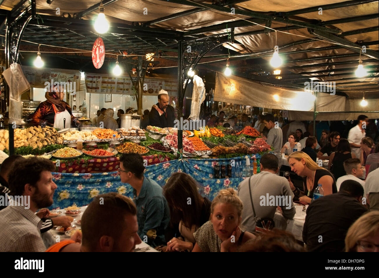 Food Night Market Jamaa el Fna is a square and market place in Marrakesh's Medina quarter (old city) Morocco Stock Photo