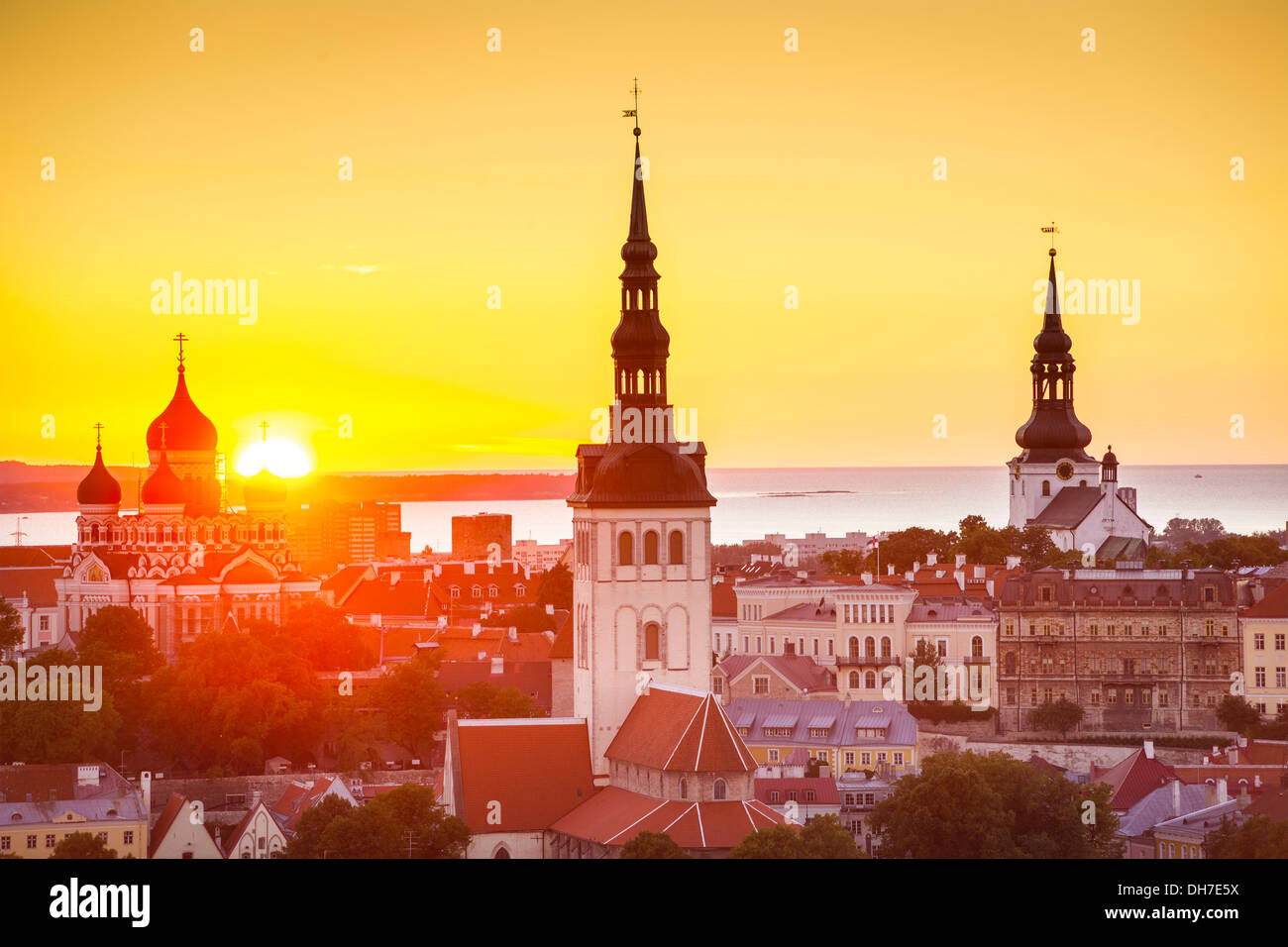 Sunset in Tallinn, Estonia at the old city. - Stock Image