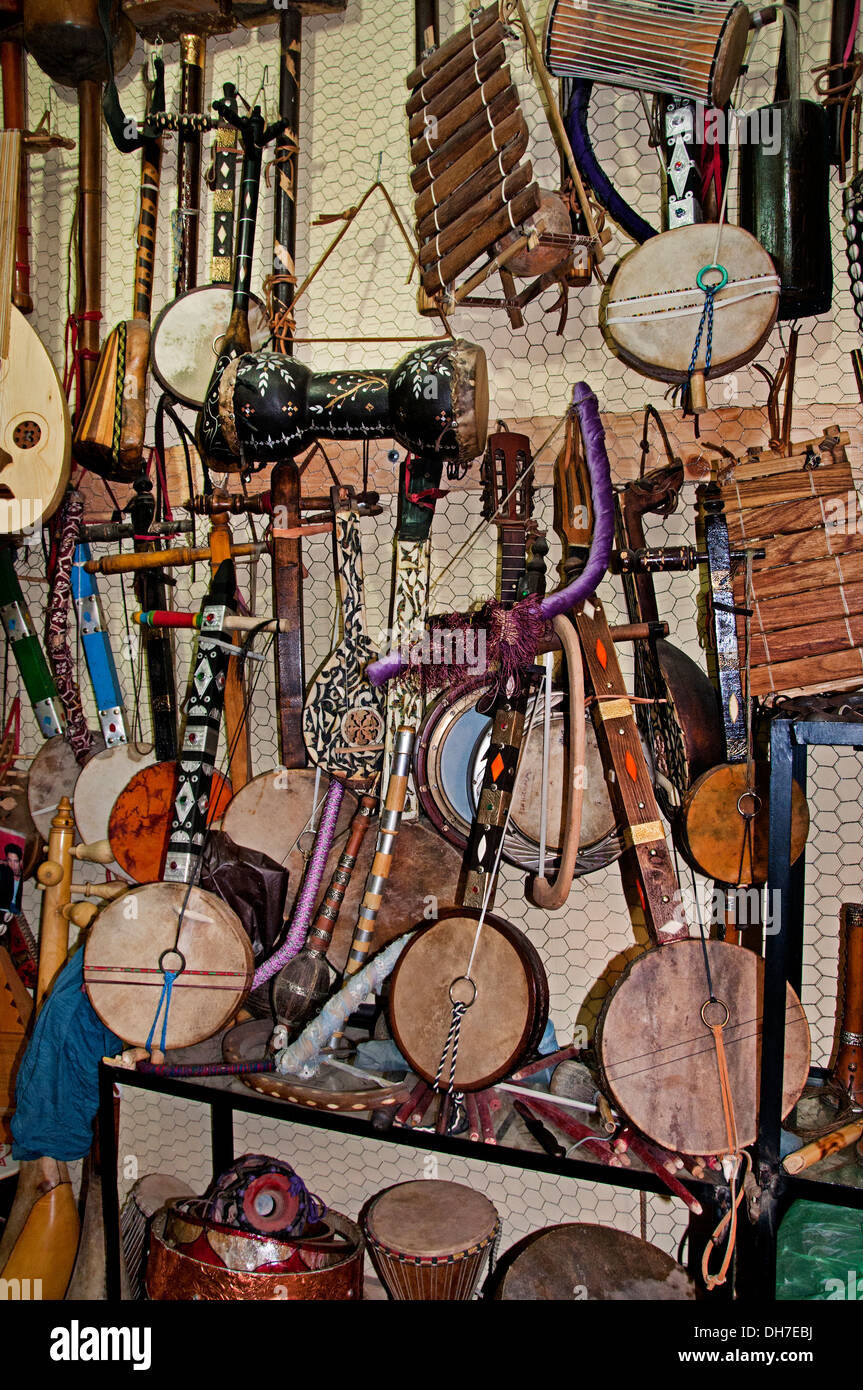 Marrakesh Morocco Musical instrument shop guitar drum - Stock Image