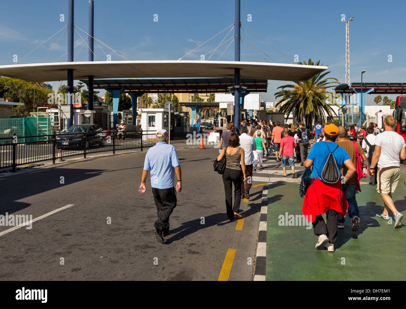 PEDESTRIANS CROSSING THE BORDER FROM GIBRALTAR INTO SPAIN AT LA LINEA Stock Photo