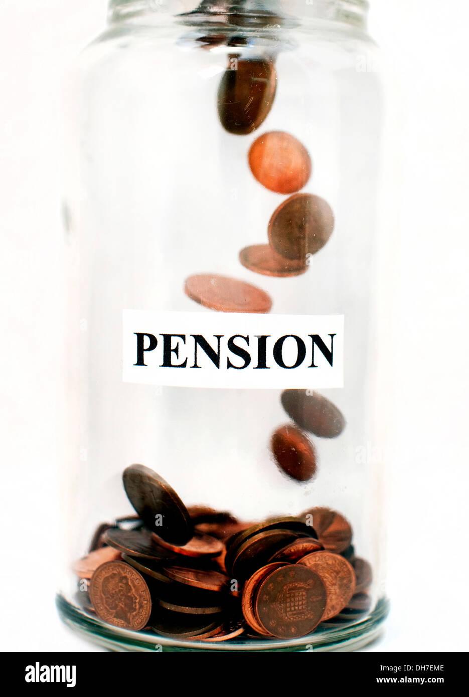 Illustration of money filling a pension pot, London - Stock Image