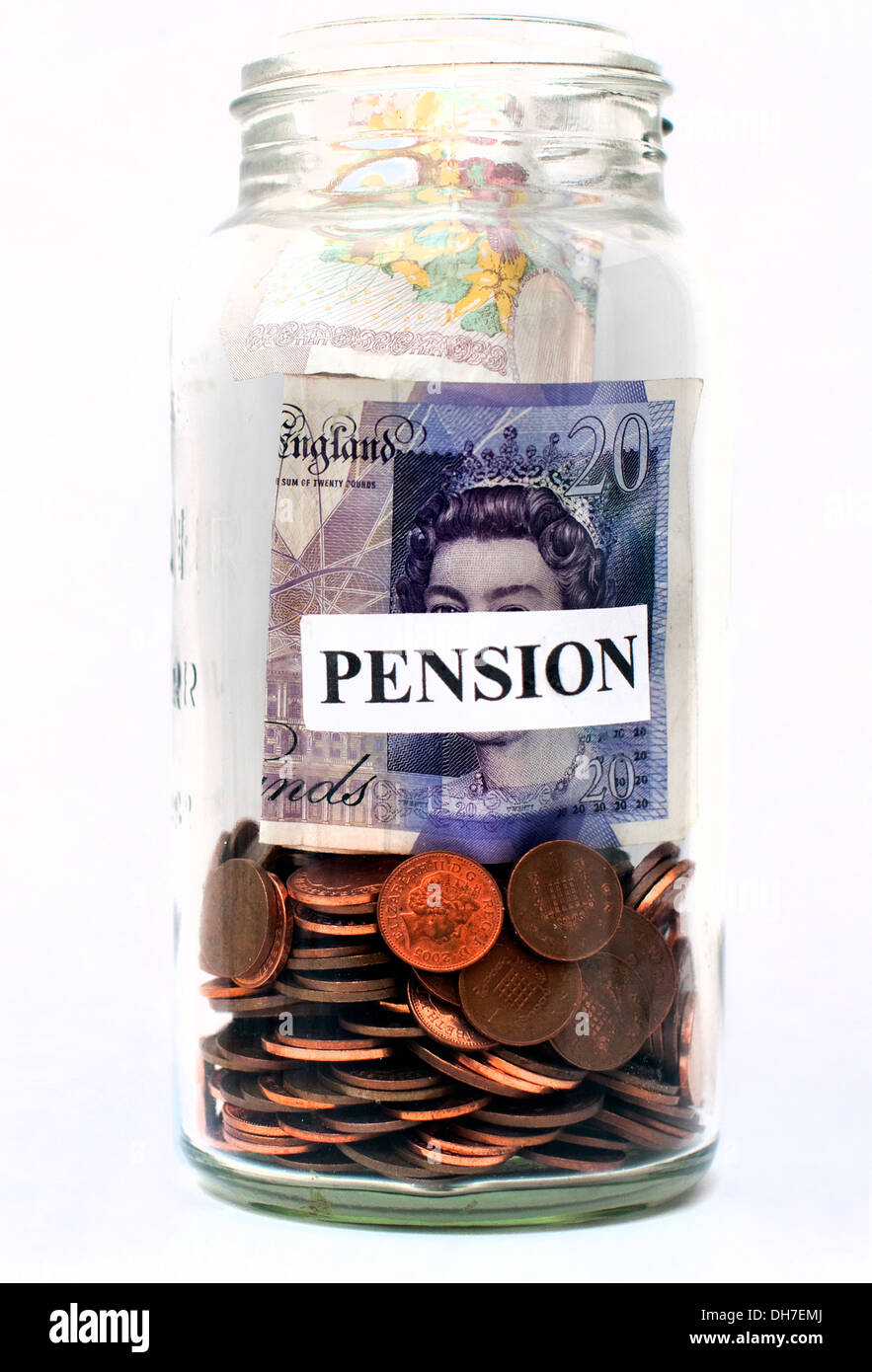Illustration of money filling a pension pot, London - Stock Image