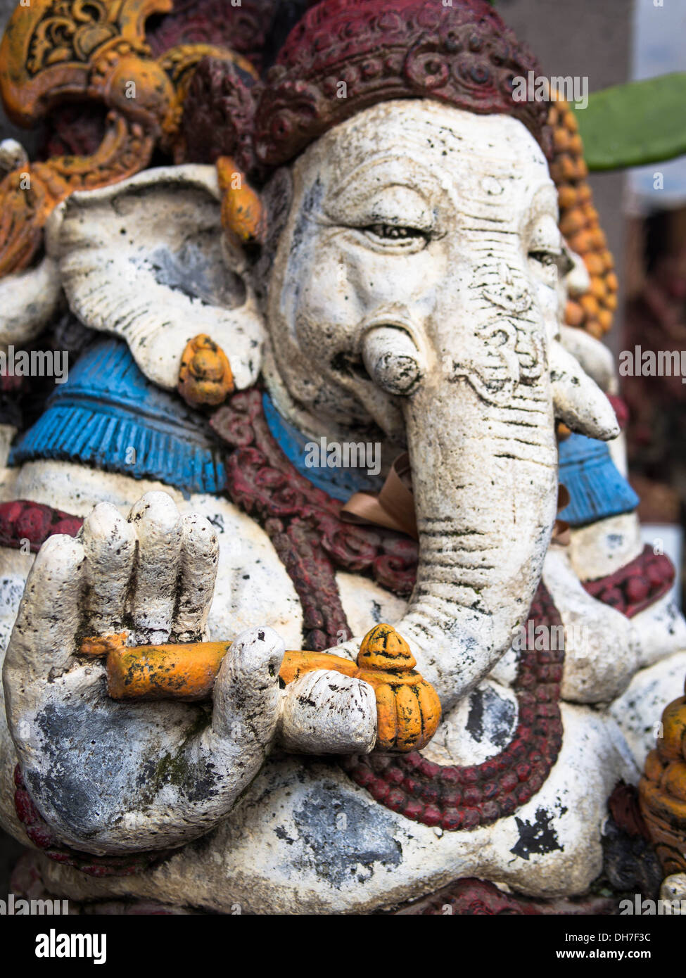 A colorful Ganesha statue on the streets of Ubud, Bali's cultural and spiritual capital. - Stock Image