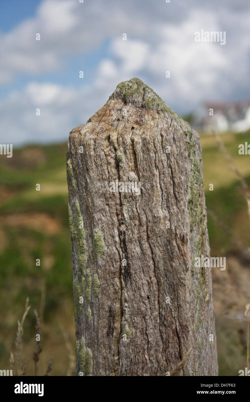 Closeup of decaying wooden fence post. - Stock Image