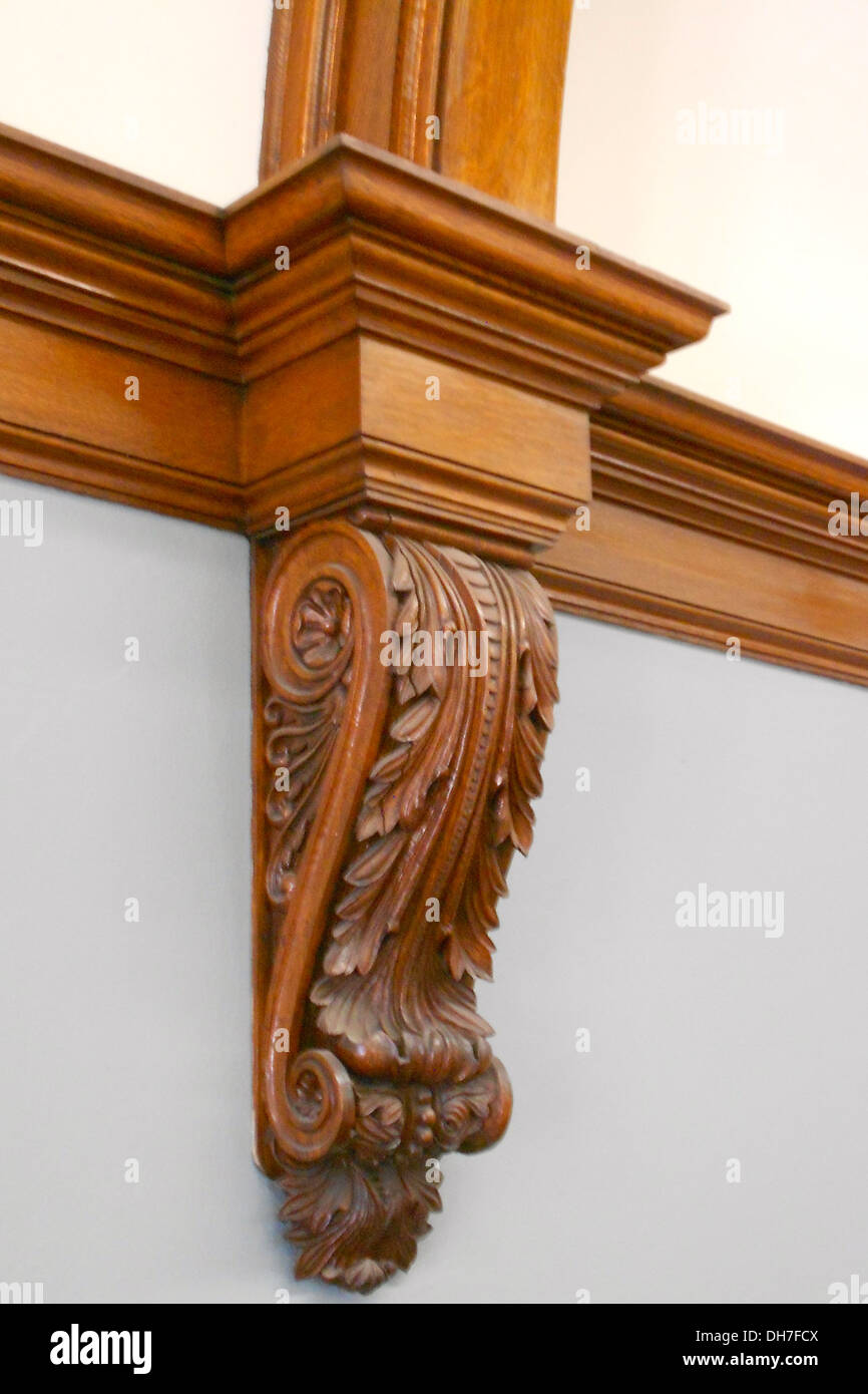 Woodwork in the library, the Albright Memorial Building, listed on the NRHP on May 22, 1978. Located on North Washington Avenue - Stock Image