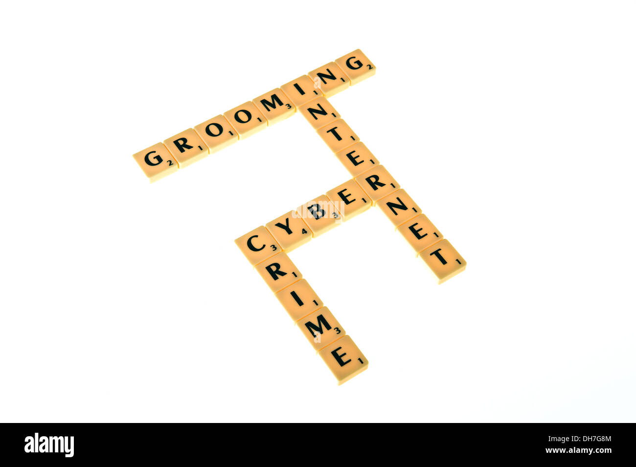 Scrabble tiles spelling out - grooming, internet, cyberand crime. - Stock Image