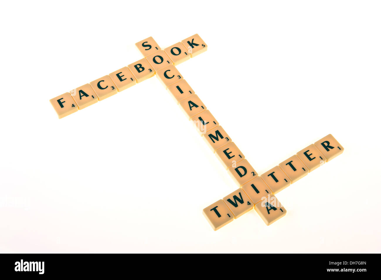 Scrabble tiles spelling out - facebook, social media,twitter. - Stock Image