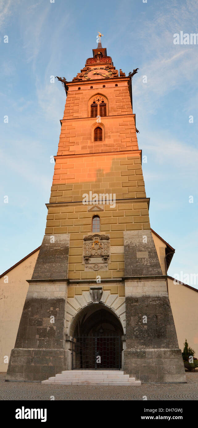 Vertical panorama of Zofingen downtown church - Stock Image