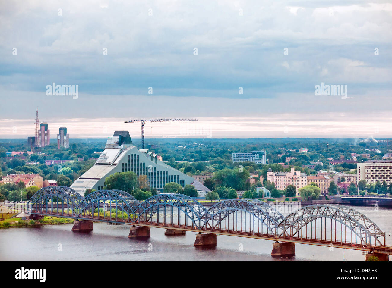 Riga, cityscape from Latvian Academy of Sciences - Stock Image