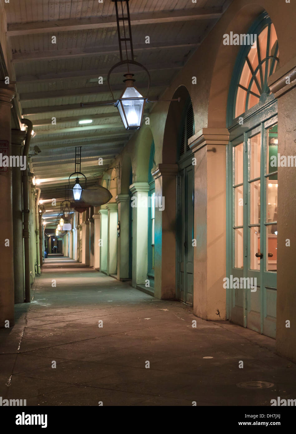 Nighttime view of the walkway in the French Market in the French Quarter of New Orleans, Louisiana - Stock Image