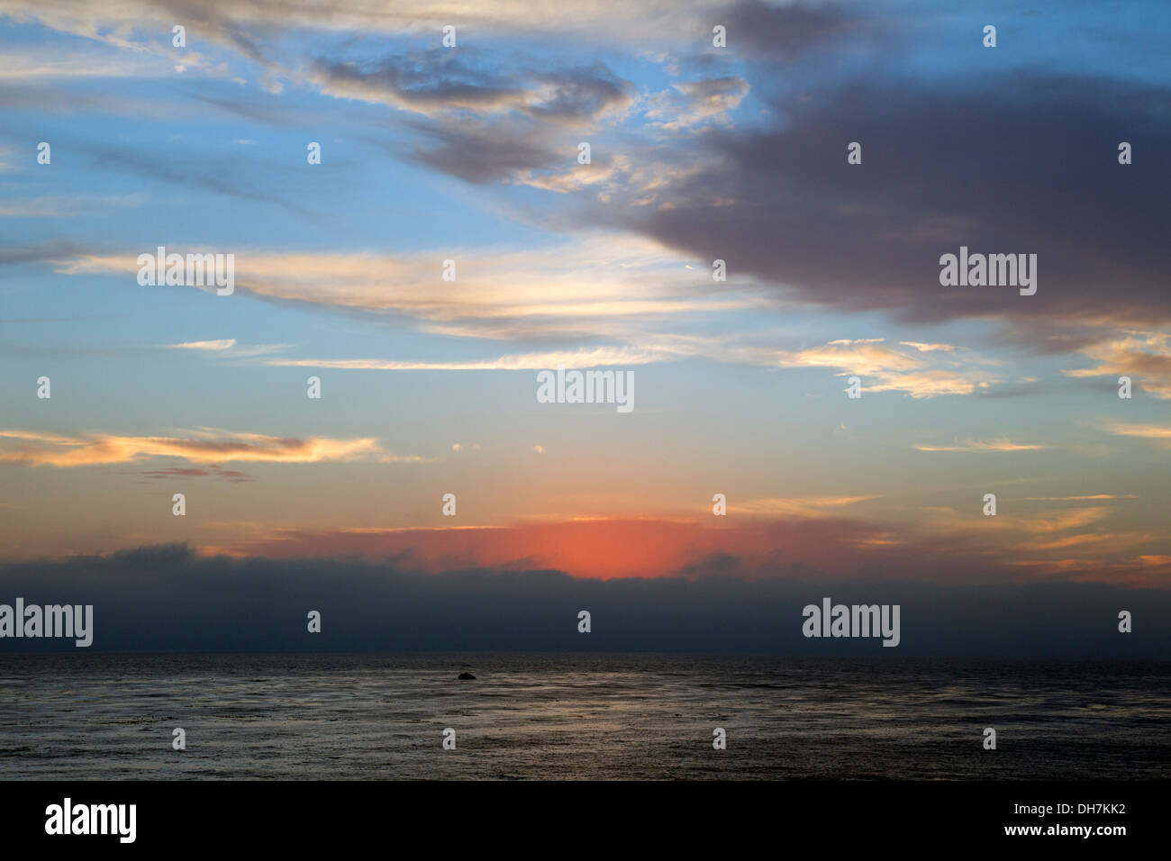 Red Afterglow Sunset - Stock Image