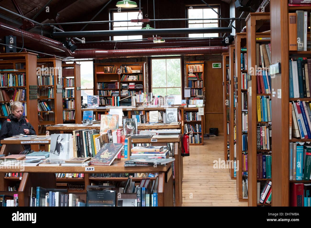Old English Huge Book Shop Bookshop Oak Shelves - Stock Image