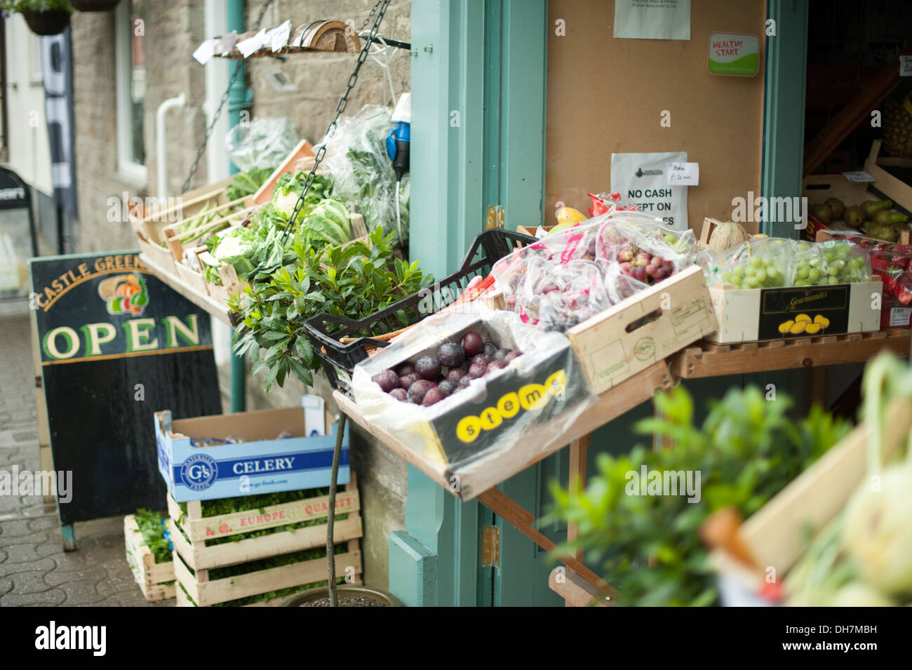 Traditional English Greengrocers Fresh Local Produce - Stock Image