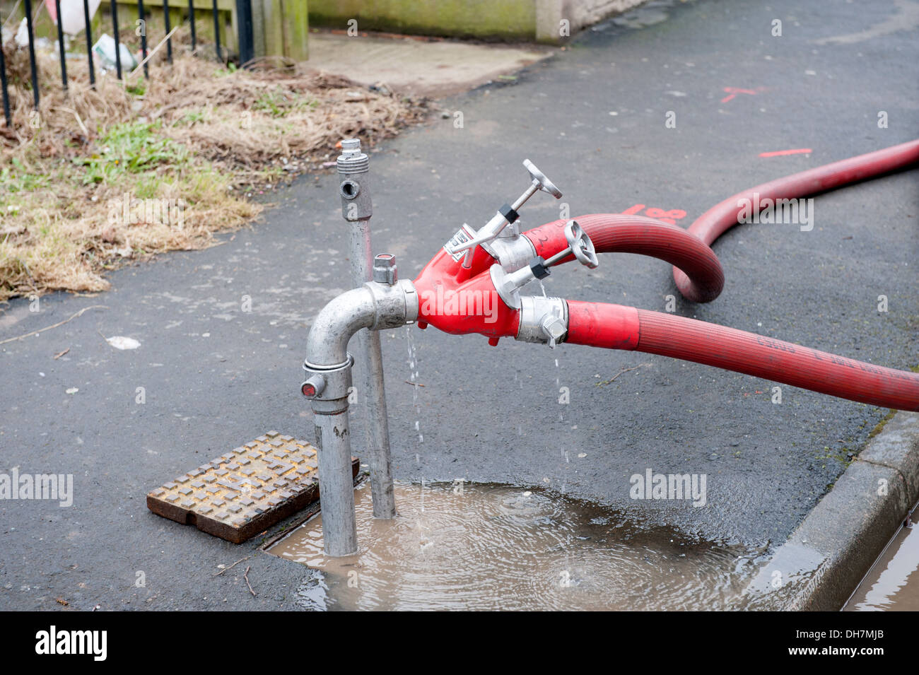 Hydrant Fire Standpipe dividing branch divider 2 - Stock Image