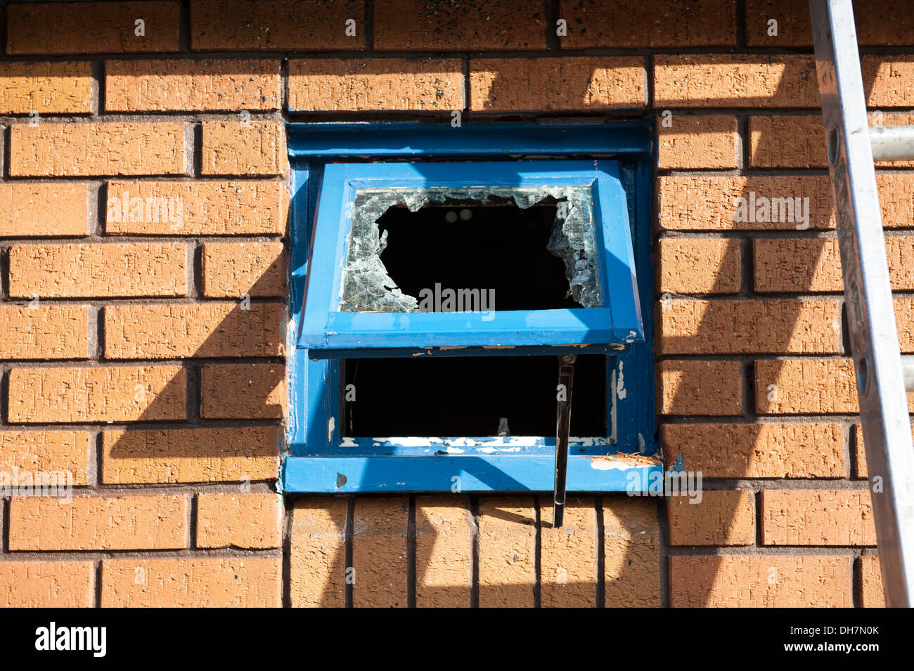 Smashed skylight small window glass theft crime - Stock Image