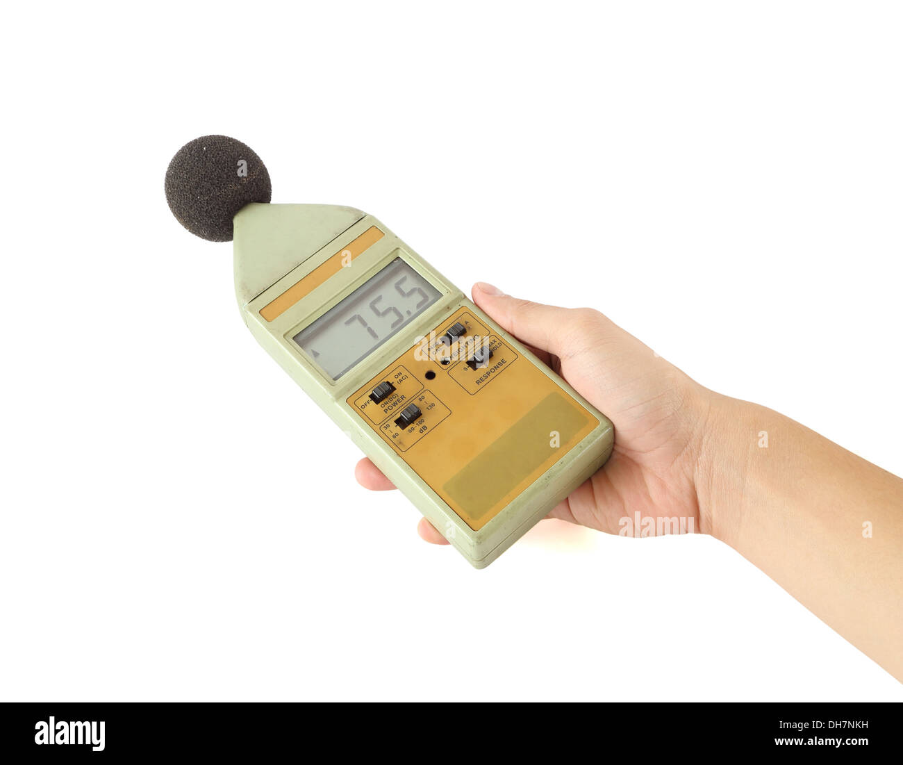 old sound level meter holding on hand Stock Photo: 62250933