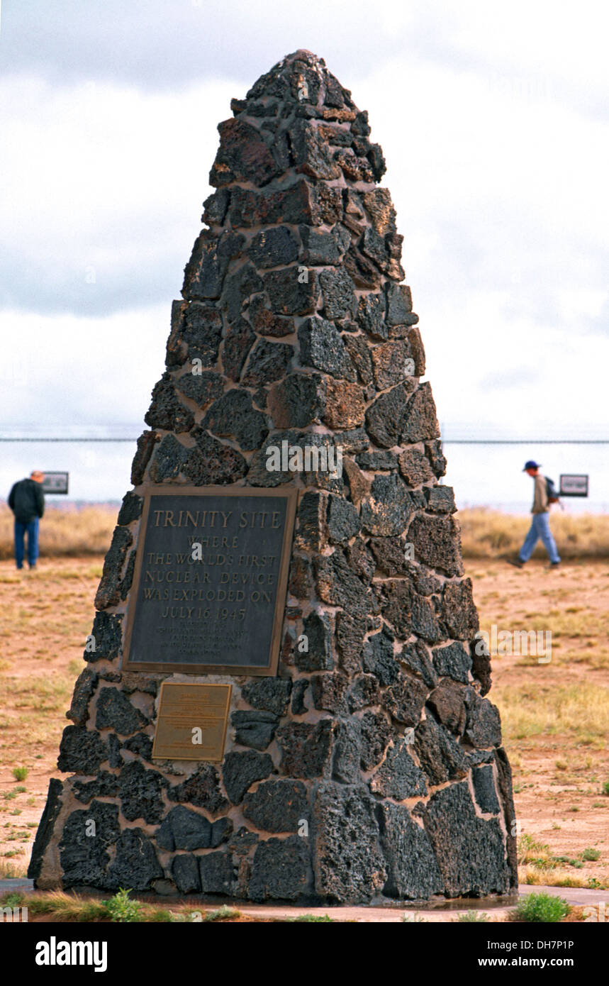 Stone marker at Trinity Site, New Mexico, where first nuclear explosion took place in 1945, USA - Stock Image