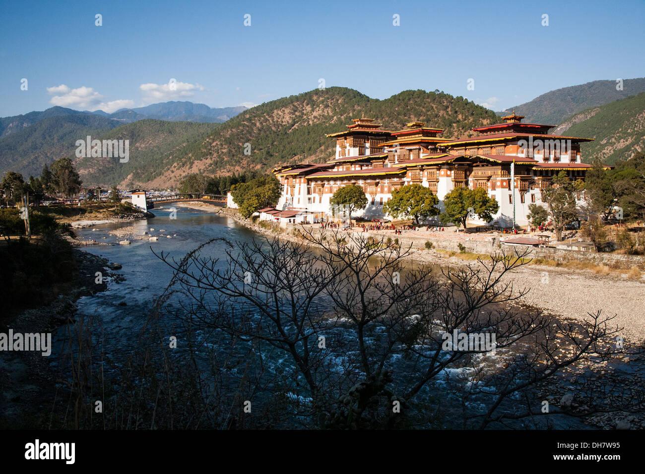 The spectacular Punakha Dzong, Punakha - Bhutan - Stock Image