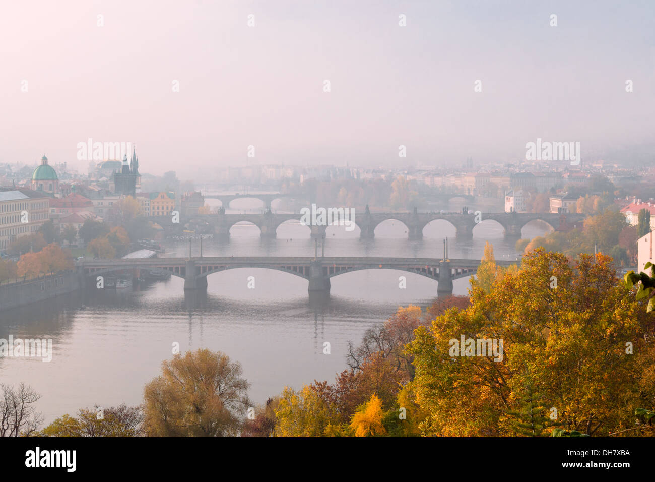 View on Prague bridges on the Vltava River, Czech Republic - Stock Image