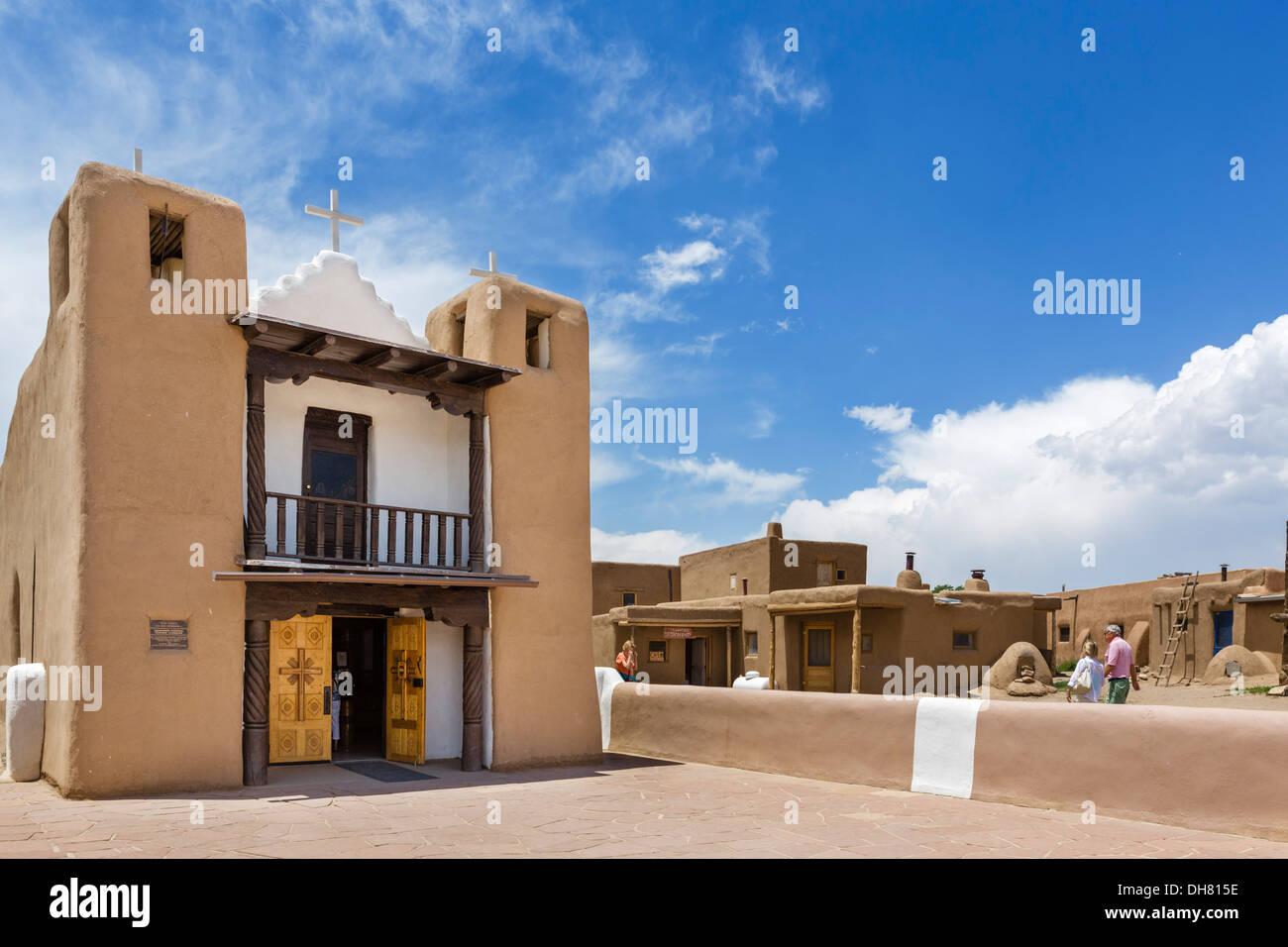 The church in historic Taos Pueblo, Taos, New Mexico, USA - Stock Image