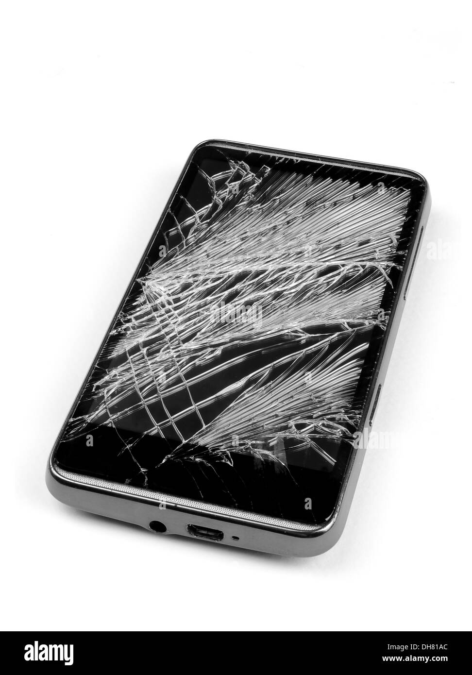 Cracked, broken, damaged smart phone - cell phone - Stock Image
