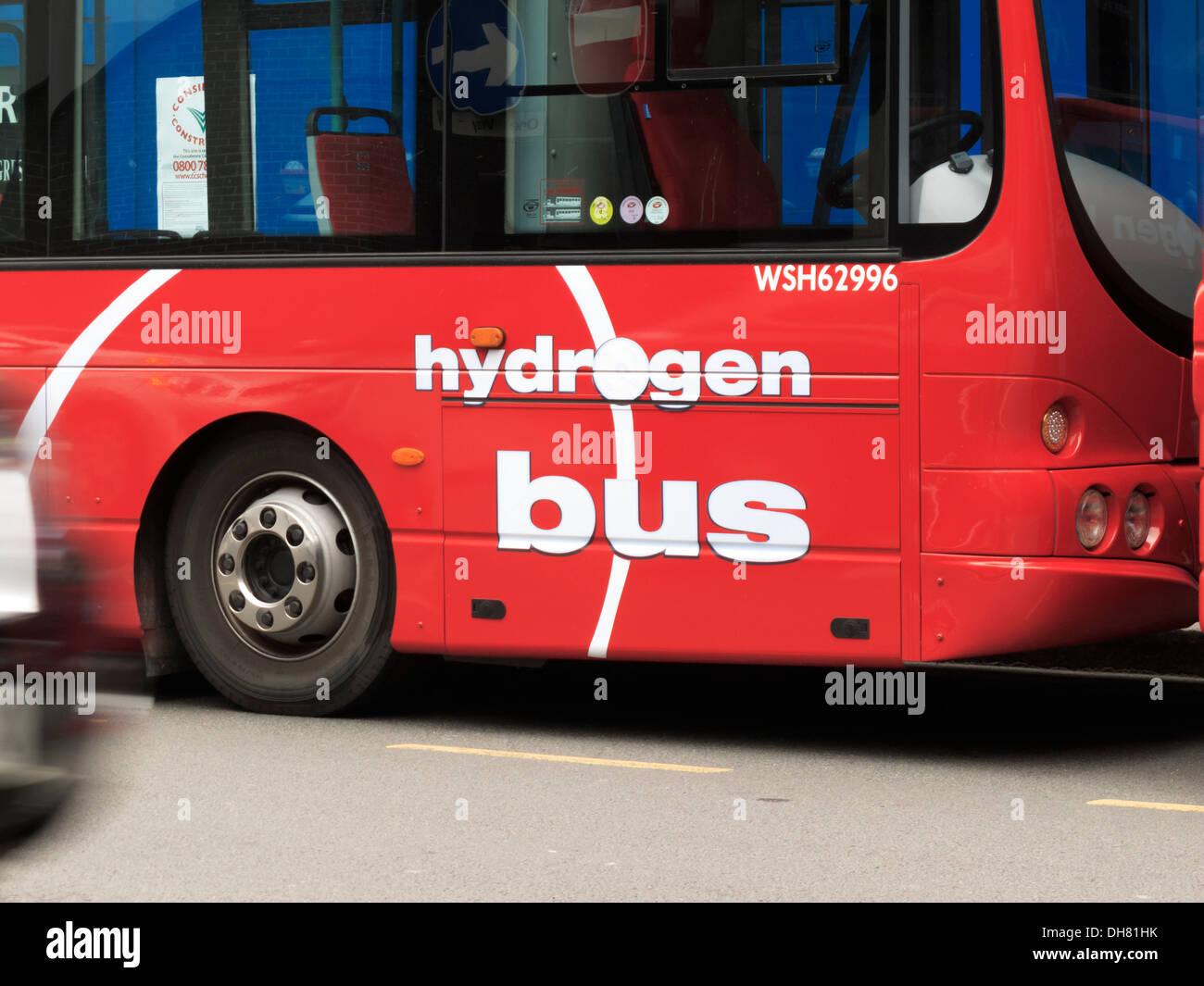 Hydrogen powered bus London England - Stock Image