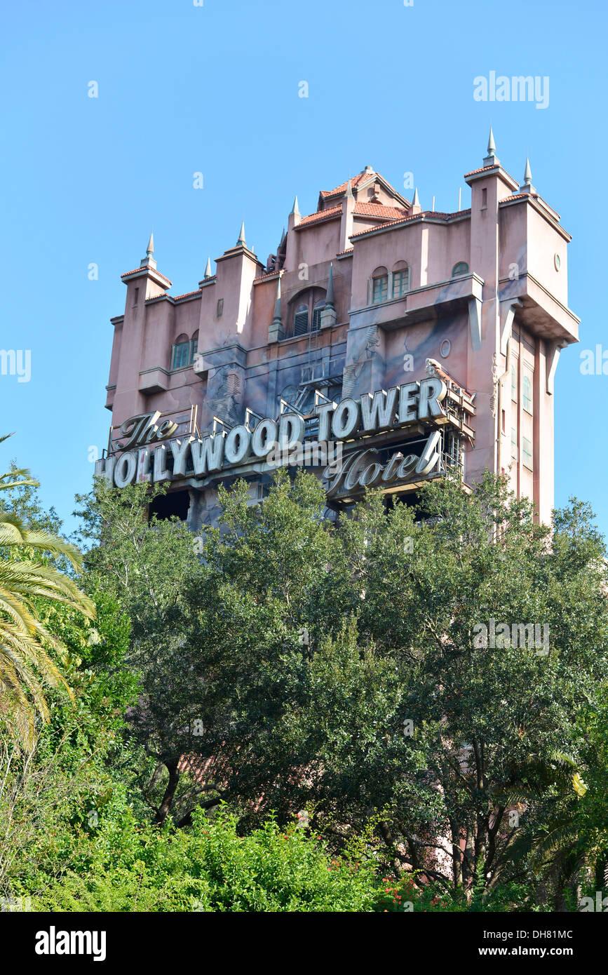 Hollywood Tower Hotel, at Hollywood Studios, Disney World Resort, Orlando Florida - Stock Image