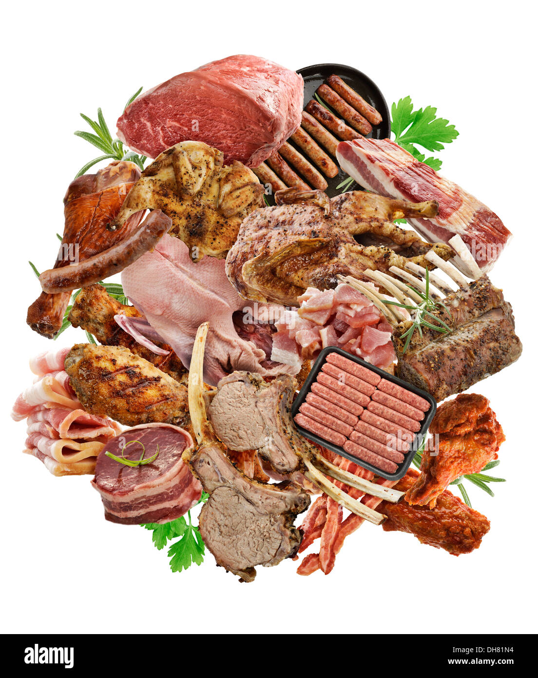 Assortment Of Meat Products On White Background - Stock Image