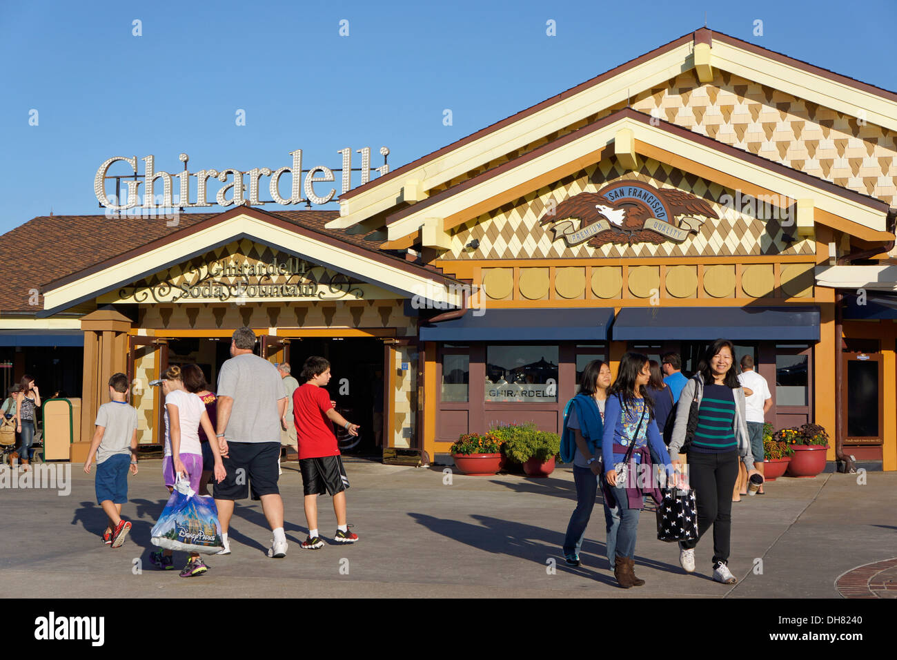 Ghirardelli Ice Cream and Chocolate Shop at Downtown Disney Marketplace, Disney World Resort, Orlando Florida - Stock Image
