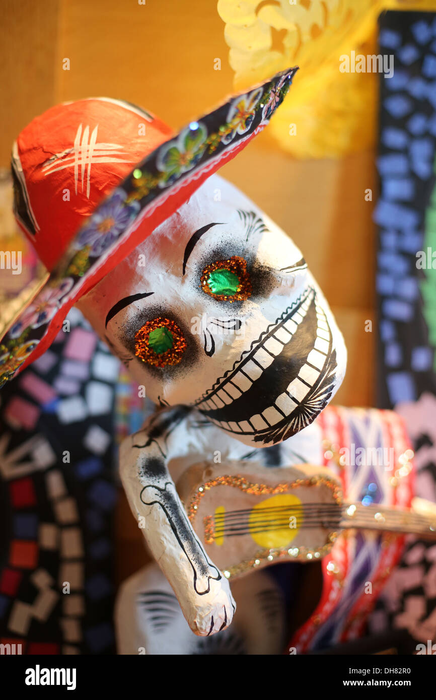 A papier mache skeleton decoration for Day of the Dead. - Stock Image